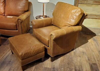 Distressed Leather Chair & Ottoman